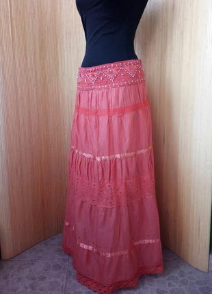 Яркая  длинная юбка хлопок в этно стиле / бо хо