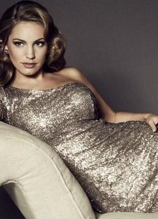 Стильное блестящее золотое платье в паетку на одно плече, стразы, new look