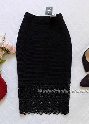 Новая фактурная юбка миди с кружевом atm, размер 10 (см. замеры)