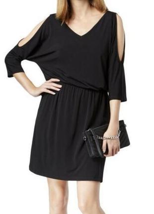 """Платье-блузон с вырезами по плечам и v-вырезом, рукава """"кимоно"""" 3/4 длины,2 разм."""
