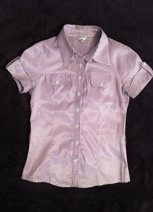 Женская рубашка с коротким рукавом, рубашка в клеточку, блуза женская