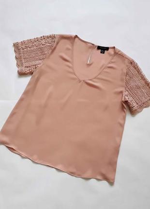 Шифоновая блуза с кружевными рукавами  atm