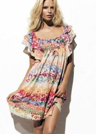 Разноцветное платье с воланами.s/m.