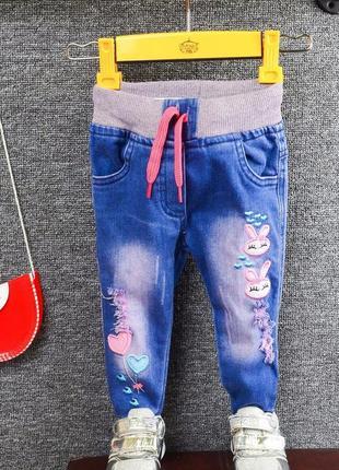 Джинсы с вышивкой на резинке для девочки