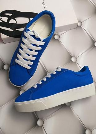 Nine west оригинал голубые сникерсы кеды криперы кожаные на платформе бренд