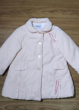 Пальто  нежно розовое 24 мес.