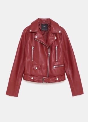 Куртка косуха байкер zara оригинал красная курточка с ремнём