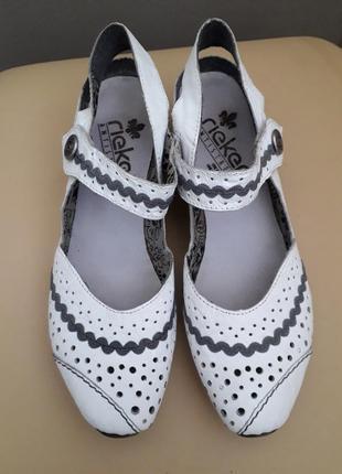 38 р. rieker кожаные немецкие туфли босоножки. оригинал