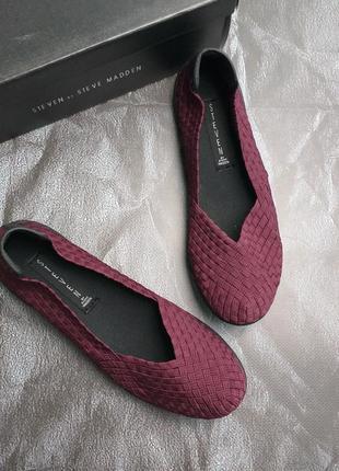 Steve madden балетки слипоны из резинок бордо марсала бренд оригинал из сша 38-39