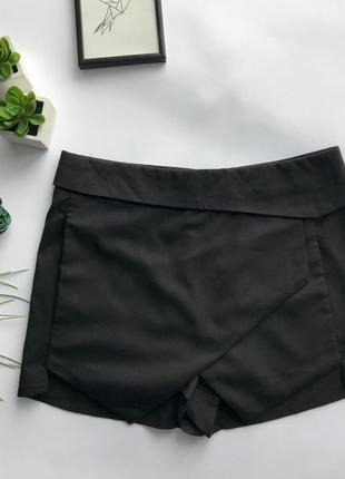 Шикарные высокие классические шорты юбка на запах с высокой посадкой