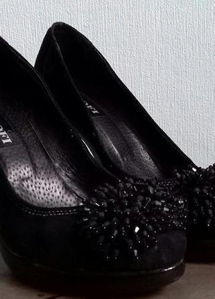 Черные туфли с паетками экокожа