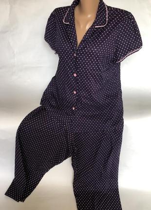 Стильная хлопковая пижама в горошек