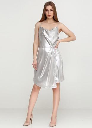 Платье металлик на тонких бретелях h&m1