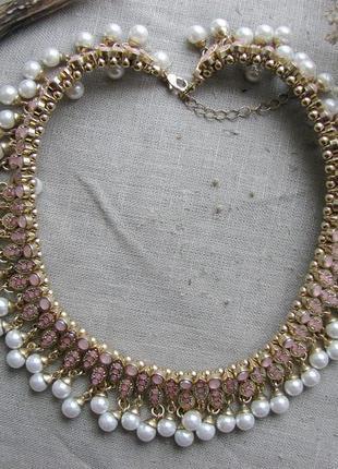 Шикарное ожерелье колье чокер с жемчужинами в восточном стиле. цвет золото