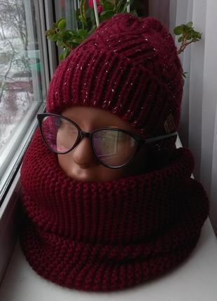 Sale! новый комплект: шапка с люрексом (полный флис) и хомут восьмерка, бордовый