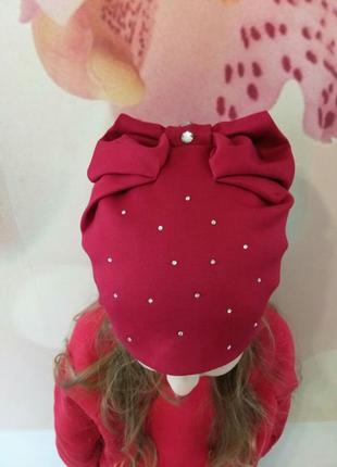 Красивенная шапочка для девочки с бантом. шапка детская весна-осень.
