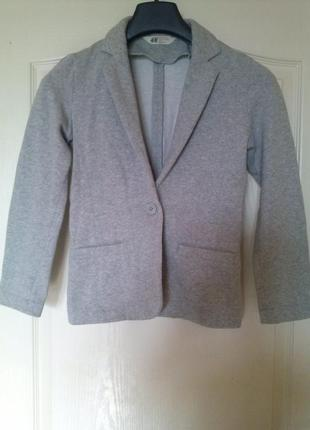 Серый трикотажный пиджак h&m на 12-13 лет h&m