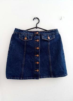 Крутейшая джинсовая синяя юбка трапеция на пуговицах