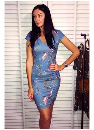 Красивое платье футляр с птицами от next