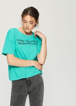 10-70 женская футболка оверсайз sinsay с надписью friday, my second favourite f-word