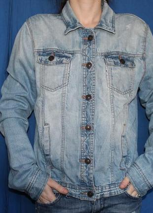 Голубая трендовая джинсовая куртка, размер 14 eur 40