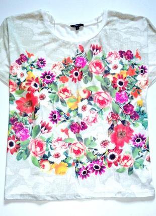 Papaya. футболка оверсайз с цветочным принтом. р-р 14, л-ка.
