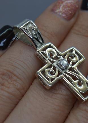Серебряный #подвес, #крест, #хрест, #узор, #камень, #квадрат, #925