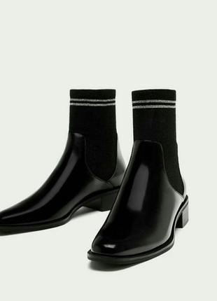 🆕демисезонные ботинки zara с носком с чулком