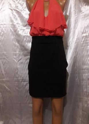 Платье-иммитация с коралловой блузой