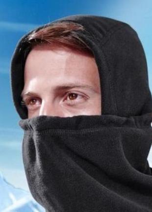 Теплая балаклава,шарф, подшлемник микрофлис tcm tchibo, цвет черный , флисовая
