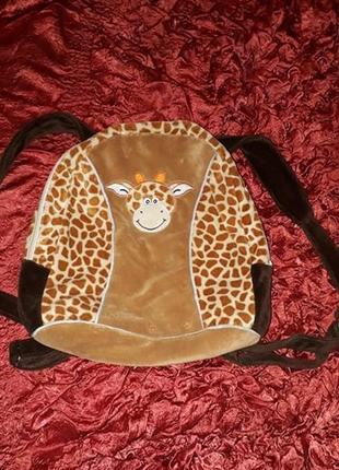 Рюкзак велюр жирафик.отличное состояние. средний размер