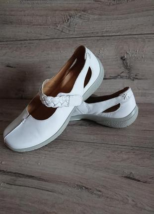 Белые балетки туфли хоттер hotter 6р 39 р 25 см кожа липучка 5a886f6a15008