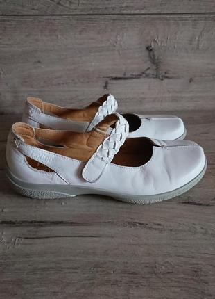 Белые балетки туфли хоттер hotter 6р 39 р 25 см кожа липучка