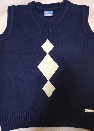 Отличный пуловер на мальчика 6-7 лет, темно- синего цвета