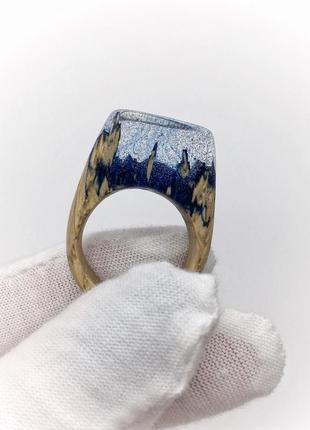 Handmade , необычное кольцо из дерева, перстень украшение из эпоксидной смолы  16,5р.