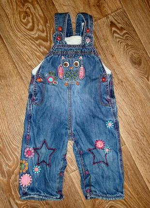 Комбинезон джинсовый на подкладке для девочки 6-9мес.m&s