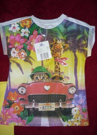 Костюм футболка и леггинсы chicco р.110, 128 - 5 и 8 лет для девочки. новый2