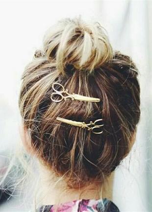 Заколка для волос золотые ножницы украшение аксессуар для волос