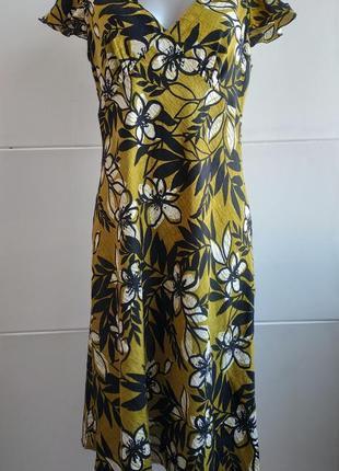Красивое льняное платье известного бренда hobbs с принтом крупных цветов