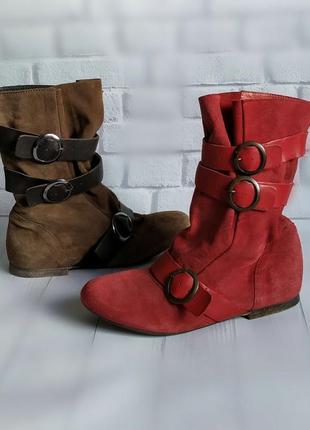 35,36р замша,кожа новые andre франция ботинки,сапожки красные ,коричневые