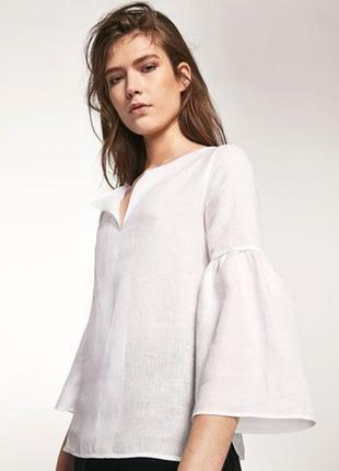 Massimo dutti 100% лён рубашка блуза с объемными рукавами