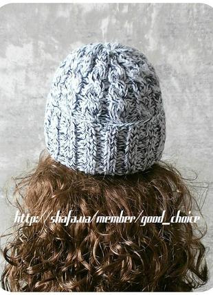 Любая расцветка! хлопковая шапка с отворотом/косы/белого, чёрного цвета/меланж2