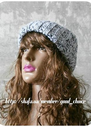 Любая расцветка! хлопковая шапка с отворотом/косы/белого, чёрного цвета/меланж3