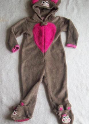 Пижама слип человечек обезьянка махра, рост 98 см.