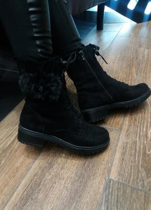 36-41р. демисезонные черные ботинки на шнуровке и молнии