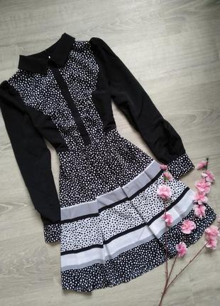 Платье рубашка , с воротником , в горошек love label
