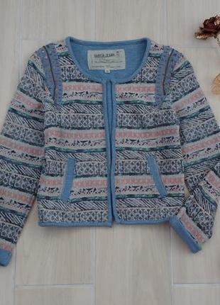 Р xs-s классный хлопковый пиджак с вышивкой ! италия