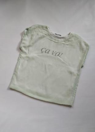 Хлопковая футболка zara с шифоновым верхом мятная