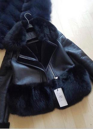 Женская черная дубленка с мехом