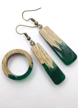 Handmade , серьги и кольцо из дерева, комплект украшение из эпоксидки, серёжки, перстень